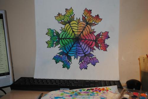 ssabrinamariee:  Color Wheel Leaves project for my art class. Done with watercolors and ink.