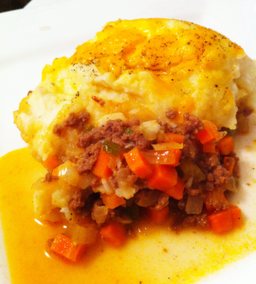 HomeCookin' - Cottage Pie w cheddar garlic mash. Secret ingredient: Vegemite in the beef stew. G'Day.