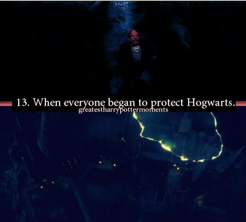 "greatestharrypottermoments:  When everyone began placing protective charms around Hogwarts:   Submitted by miaxono, here's what she has to say about this moment: I think one of the greatest Harry Potter moments was in the 8th movie. When all the teachers and members of the order were in hogwarts and sent those protecting charms around the castle, and built this large dome of protection. I literally cried in the cinema.. both times I watched the movie. I really felt the team spirit there was. :') Like Ron said..""It's a whole lot bigger than that!"" :)"