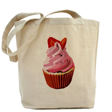 Strawberry cupcake canvas tote. Our 100% cotton canvas tote bags have plenty of room to carry everything  you need when you are on the go. They include a bottom gusset and extra  long handles for easy carrying.