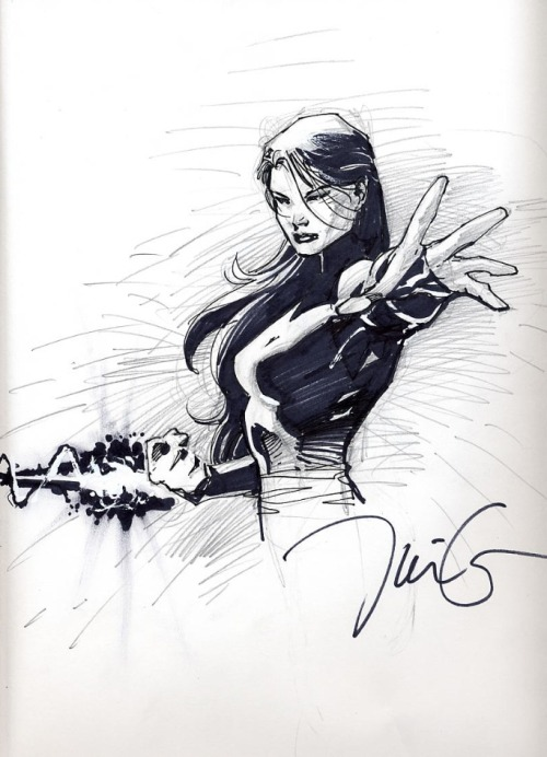 dr-atomics-nerd-factory:  Here is a Jim Lee Psylocke sketch that he probably did in 4.5 seconds while telling a joke and eating a doughnut.  Insane talent.  .