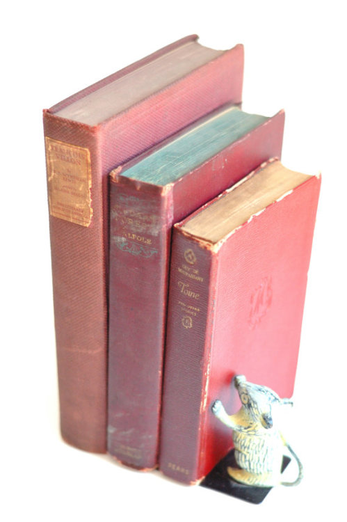 vintage antique books // red collection of 3 // Francois Villon // The Dark Forest // Toine (via vintage antique books // red collection of by IttyBittyBlossoms77)