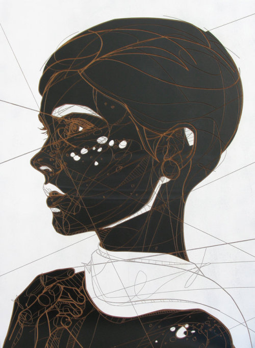 magnolius:  Prophetess (Laser etch and lacquer on wood panel) by       Jason Thielke