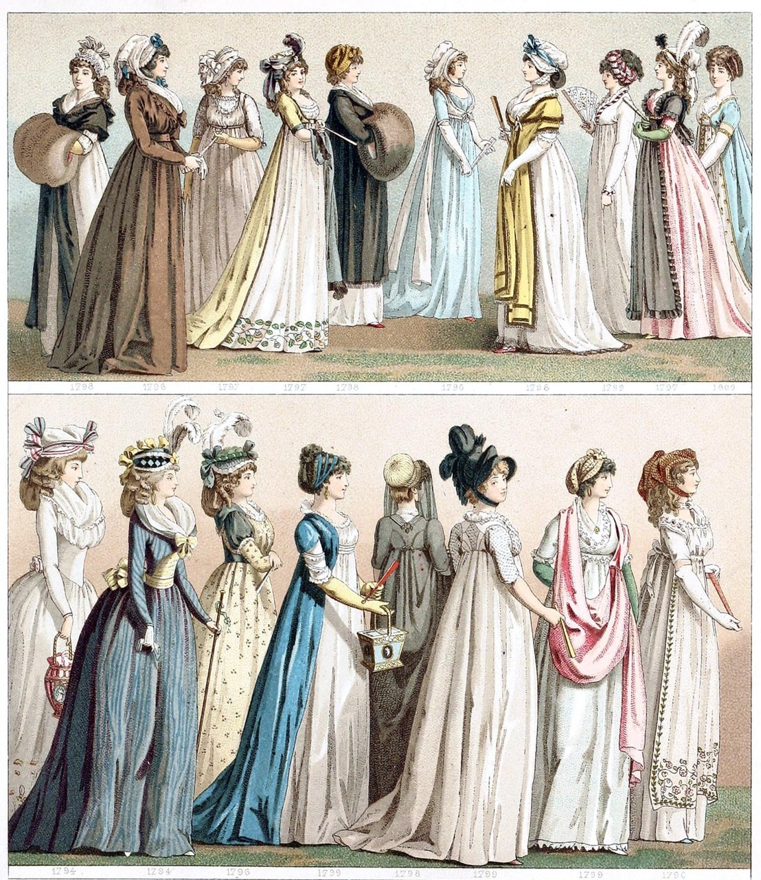 oldbookillustrations:  France, women's dresses between 1794 and 1800. From Geschichte des Kostüms (The costume history) vol. 5, by Auguste Racinet, Berlin, 1888. (Source: archive.org)