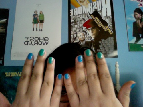 Truthful Tuesday You guys look, I painted my nails. This is such a treat for you since I hardly ever do this. I only got 5 hours of sleep last night. Around five o'clock I decided to take a nap. I woke up around 6 pm and thought it was 6 am. The only reason I woke up is because I drooled all over my pillow, all over. I switched pillows and went back to sleep and didn't wake up for another 3 hours. Fuck. Last night I got to meet @Imaliwaller and @aparnapkin and @blaudiablogan and they were all such a delight and super funny. Oh I also got to meet @rachelhastings and @WritingWilkie but it was only for about two seconds. I hope you guys saw the latest #nitTWITS video if not click here: http://www.youtube.com/watch?v=9gPjv-5mRiI I think the next one coming out is going to be @AmberTozer's and I already read the script, talked to her about it and even saw a picture from it and omg it's going to be so great. I really can't wait to see it.