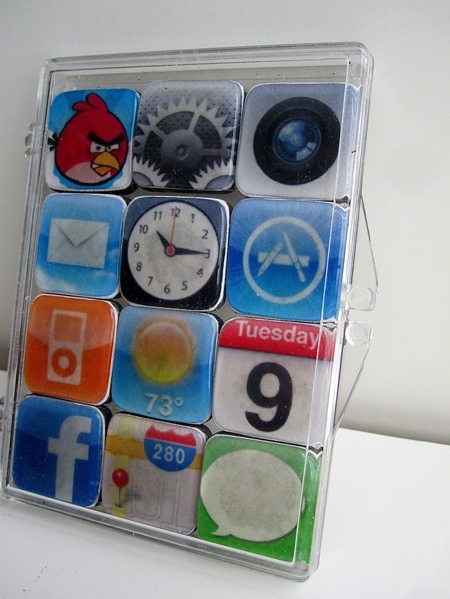 DIY Customizable Iphone Magnets. I got that question earlier about what quirky or geeky gifts I could think of and this would be perfect. Tutorial and free download from Infarrantly Creative here. Other ways to give magnets as gifts: glue washers to the bottom of a tin. Lots of suggestion in tutorial about what to do if you cannot find square magnets. I've tried the magnet sheets (which aren't mentioned here) and am NOT a fan of them - to weak to hold much. Free download opens as a .doc and I opened it in OpenOffice.org