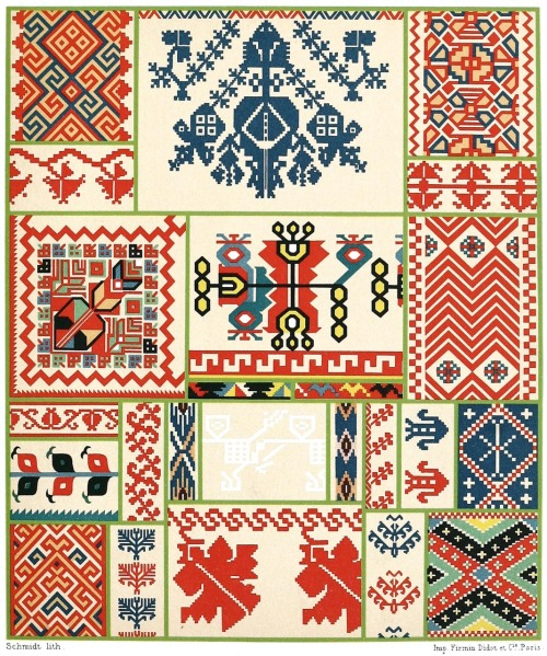 oldbookillustrations:  Ukrainian embroidery. From Geschichte des Kostüms (The costume history) vol. 5, by Auguste Racinet, Berlin, 1888. (Source: archive.org)