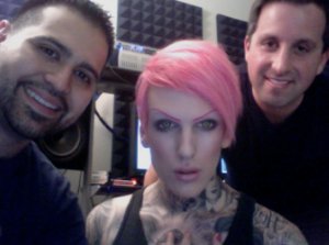 Eddie Galan working in the studio with Konvict Music's Jeffree Starr & Brett Epstein