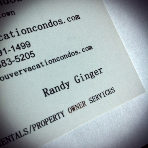 The business card of the person who manages my furnished let. THAT'S THEIR NAME! Amazing.