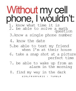 Without my cellphone………….