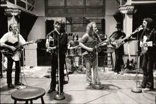 Stephen Stills, Graham Nash, David Crosby & Neil Young, with Johnny Barbata and Calvin Samuels - 4 Way Street rehearsal, 1970 Photo: Henry Diltz