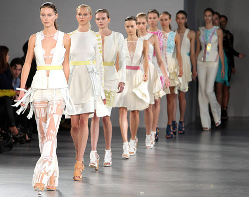 London Fashion Week Continues.. The Summer Spring 2012 collections continued at London's Fashion Week, tuesday. The penultimate day at LFW saw collections from the likes of Mary Katrantzou, Aquascutum, Roksanda Ilincic and Osman take to the runways. (Picture Lineup: David Koma)
