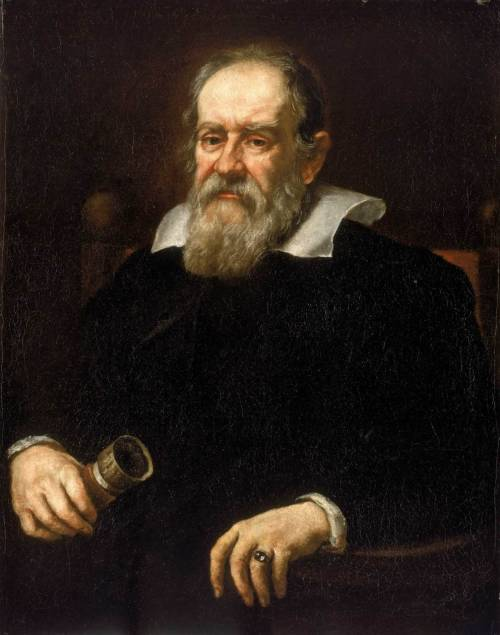 scruffynumberone:  Galileo Galilei (1564-1642) physicist, mathematician, astronomer, and philosopher.  Forced to repent before the Inquisition in 1633 because of his new ideas. One of the first times we see the clash between the church and science.