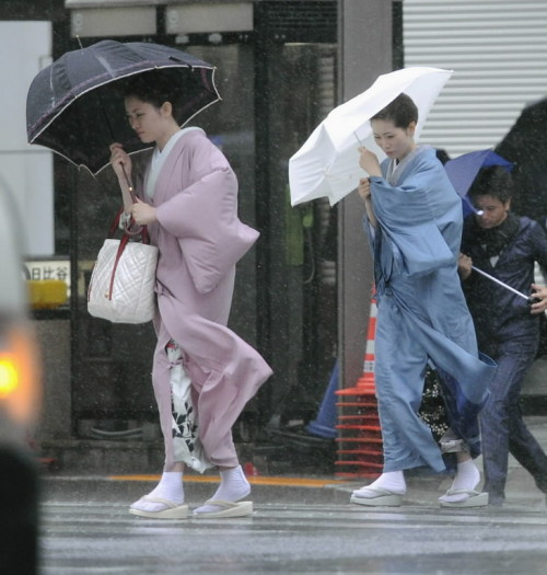 There is a typhoon in Japan. (Photo via AP)
