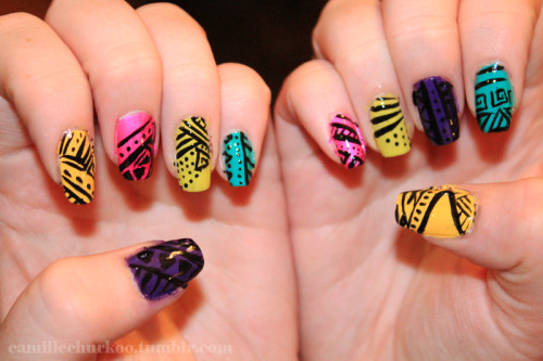 camillechurkoo:  Crazy colour with lines! Nail art.