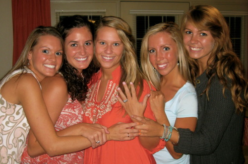 Yes, one of my best friends got engaged this past weekend. These 4 girls surrounding me are the most insanely awesome examples of Jesus to me. 4 years ago, I had no idea that He was about to bless me with their friendships— #notmad about it…not at all. Here's to our senior year. Let's get it.