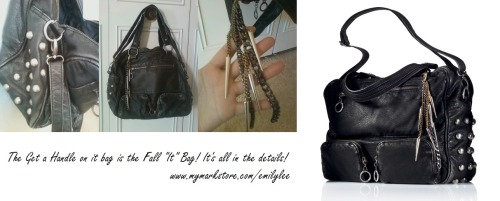 I am in love with this bag! Distressed faux leather, edgy hardware, and super roomy! http://bit.ly/qIYXIX