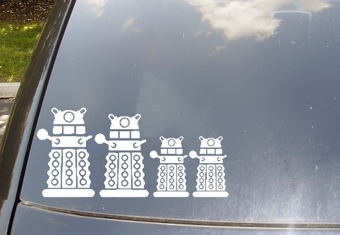 doctorwho:   Doctor Who Dalek Family Car Stickers   This is the best! When the time comes for me to start a family of my own (very far into the future), you can bet these stickers will be on my car.