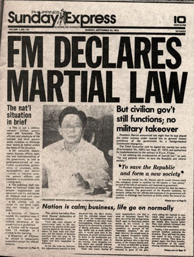 Today is the 39th Anniversary of the Declaration of Martial Law in the Philippines by Ferdinand Marcos the Dictator. We will never forget the injustices, martyrs and the victims of Martial Law. Never again to Martial Law! kommunityx:  September 21 is the 39th Anniversary of the Declaration of Martial Law in the Philippines by the Dictator Ferdinand Marcos.  We will never forget…