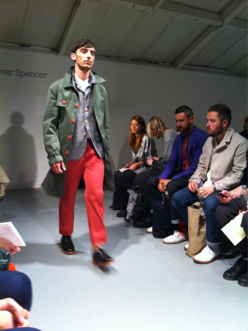 "Oliver Spencer's ""boisterous"" red trousers. The collection was inspired by French mod and very nice it was too.- Helen Seamons"