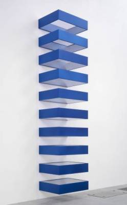 "Donald Judd, 1928-1994, was an American minimalist sculpture, although he didn't like the term ""minimalist,"" preferring to refer to his work as ""the simple expression of complex thought."" Judd sought autonomy and clarity for the constructed object and the space created by it. He used humble construction materials, such as metal, plywood, concrete and plexiglass - by using these materials, he was rejecting the tradition of artistic expression and craftsmanship. By encouraging concentration on the volume and presence of the structure and the space around it, Judd's work draws attention to the relationship between object, viewer and environment. Click through on the image for a link to the Tate Modern's Donald Judd page."