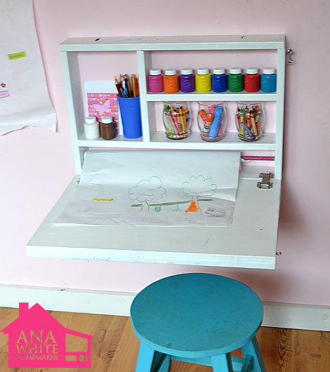 (via Ana White | Build a Flip Down Wall Art Desk | Free and Easy DIY Project and Furniture Plans)