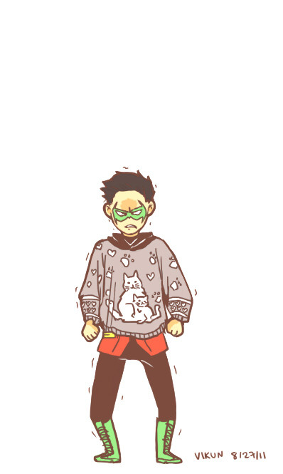 Damian Wayne, rocking a cat sweater (inspiration), by vi-jyna. Truth be told, I own not one, but two dresses that feature cat motifs; every time I wear them, I can't help but think of Damian Wayne.