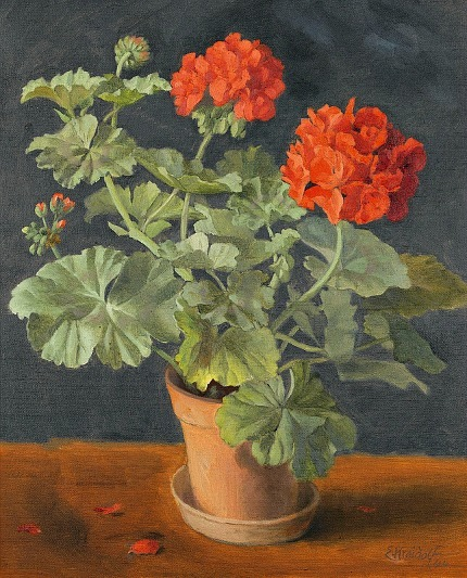Ernst Kreidolf Geraniums in a Pot 1944