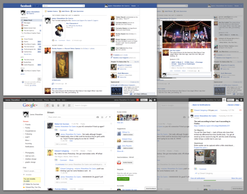 The more Facebook tries to keep up with Google+, the more it looks cluttered. And the way full posts pop out of the ticker? Totally ripped off Google+'s notifications. Click image for full view.
