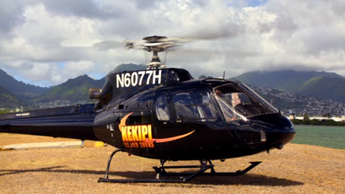 """LANAKILA"" 1x4  Kekipi Helicopters  Keikipi Helicopters is not a real company; rather the same helicopter that was used in the hijaking scene was used here, as supplied by Makani Kai Aviation."