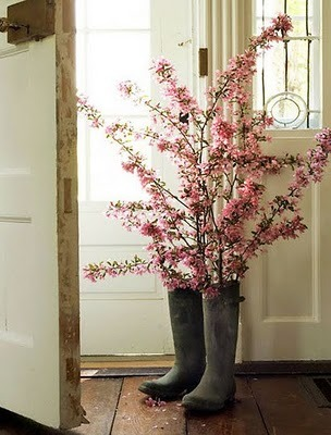 Galoshes as Flower Holders
