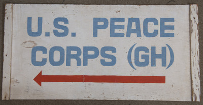 peacecorps:  The sign that hung at the original Peace Corps office in Ghana, the first country to host Peace Corps Volunteers.  This sign was among the artifacts we donated to the National Museum of American History today. Read more about it: http://go.usa.gov/8gi  wayback playback