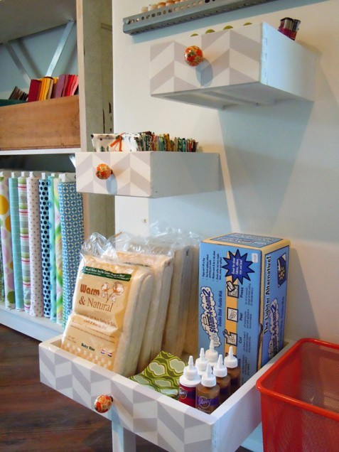 craftovision:  DIY Herringbone Drawer Shelves via ivillage. I love this idea. I am always running across drawers whose counterpart housing unit is no longer acceptable furniture. Putting on my list of DIY's I intend on doing in the craft room I may one day have….oh to dream.