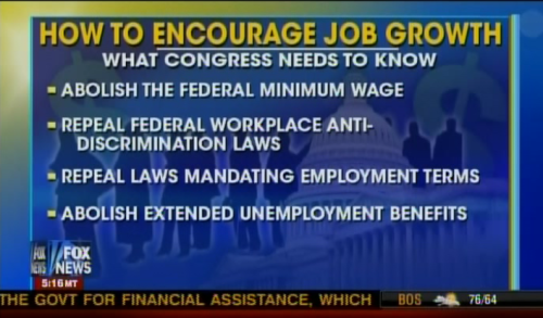 The Fox News solution: more discrimination, less pay, less benefits.  Yeah! That'd totally work!