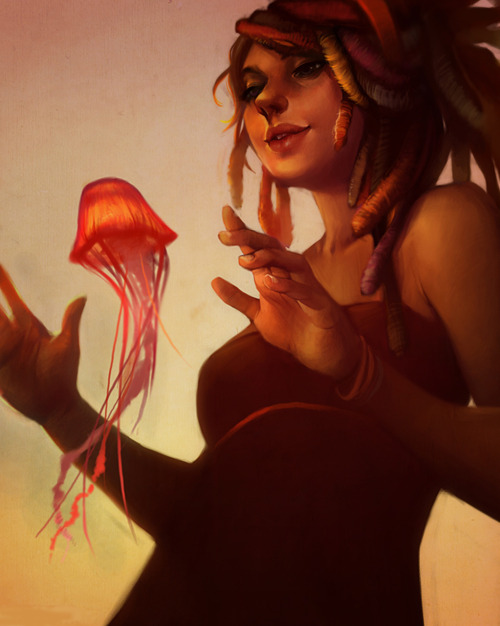 "theartofanimation:  Lois van Baarle  This reminds me very distinctly of a dream I had once when I was a child.  where I was turned into a little orange jelly fish. ""Katie… its me!"""