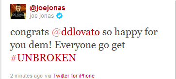 I've been waiting for a Jonas Brother to tweet about Unbroken.
