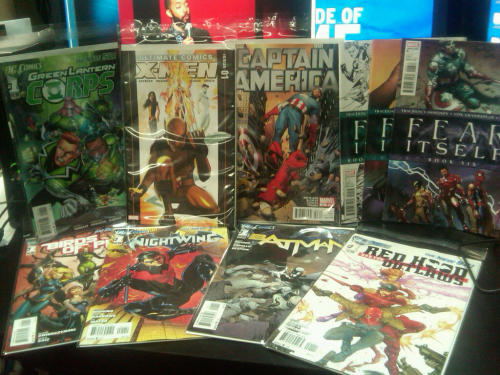 I'm slowly spending more on floppies…  Damn you new 52! Also, Fear itself is damn amazing. 9/21/11