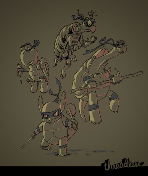 threadless:  Radical, dudes. Ninja Turtles by Stacy James Eyles is up for scoring now.