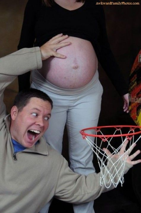 "Hoop there it is! Expecting mothers are constantly bombarded with ""Do this!"" or ""Do that!"" before they give birth. Now it's time for ""Please, don't do that. No, seriously. Don't.""  … And no, this is not the only amateur NBA photo."
