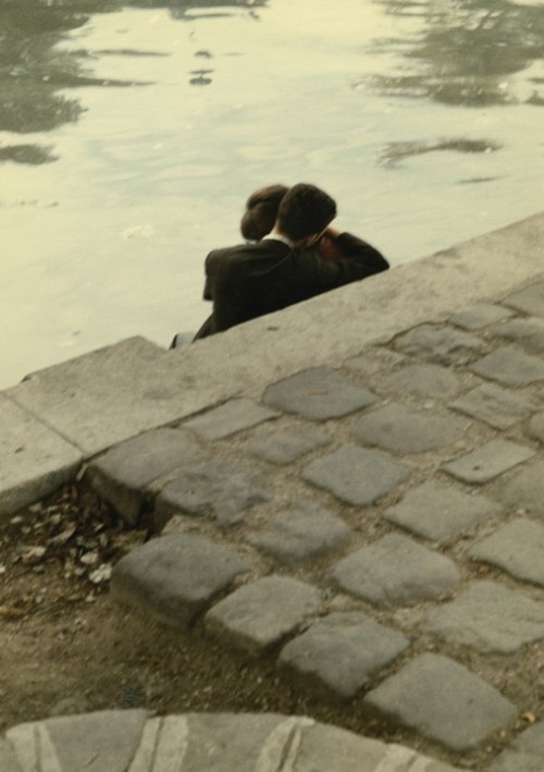 Lovers on the banks of the River Seine near the Square du Vert-Galant, Ile de la Cité, Peter Cornelius.