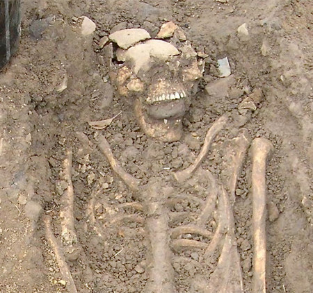 "kleineblutmenge:  Two men's skeletons, originally buried around 700AD, were uncovered that had big-ass rocks jammed in their mouths, a practice that was later reserved for vampires.  But, since vampire folklore wasn't prevalent in the area until the 1500's, archaeologists now believe it was a zombie scare. One of the men was between 40 and 60 years old, and the  other was a young adult, probably between 20 and 30 years old. The two  men were laid side by side [although buried at different times] and each  had a baseball-sized rock shoved in his mouth.  ""In this case, the stones in the mouth might have acted as a barrier to  stop revenants from coming back from their graves,"" Read told Discovery  News."