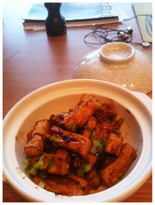 The quick brown tofu: firm tofu, shallots, five spice, shao hsing cooking wine, light soy sauce, oyster sauce. Top it off with green onion.