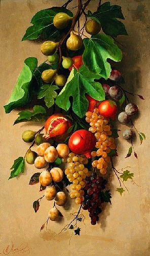 Michelangelo Meucci  Branch of Figs with Grapes, Plums and Pomegranates 19th Century