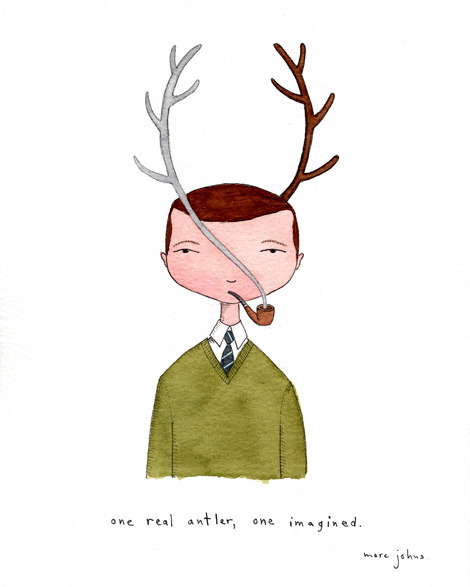 one real antler, one imagined by Marc Johns on Flickr.
