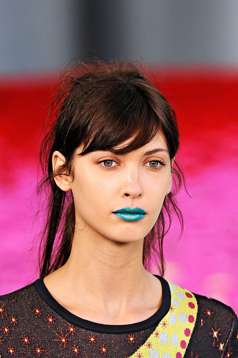 I wouldn't wear it, but her lip color is a seriously pretty turquoise. (via Mary Katranzou Makeup, London Fashion Week S/S 2012)
