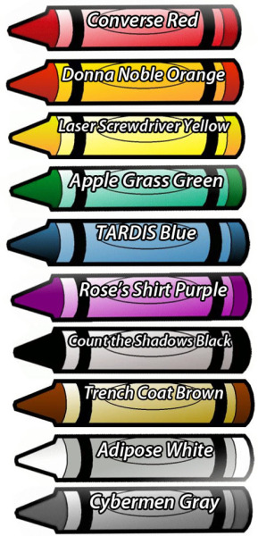 cloysterbell:  Tenth Doctor inspired crayons.