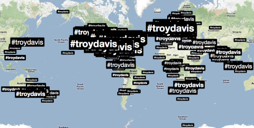eugeniedefranval:  the map of the trending of troy davis today on twitter via @johnstuttle http://twitter.com/#!/johnstuttle/status/116677270751559680