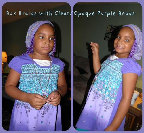 The same box braids but refreshed then put on purple beads to go with her outfit her gramma got her! Beebs loves purple! *The scarf came with it and it could be used for a scarf or belt….I asked her if I could try it on her head :D We loved it!