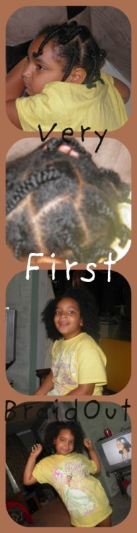 Did braid out on her hair for the first time….took it loose and barely pulled at her hair to hide the parts :p and it was cute :D