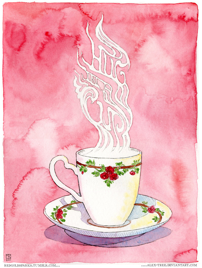 "eatsleepdraw:  ""Hug in a Cup"" by redgoldsparks.tumblr.com  yay for typography that looks like this!"